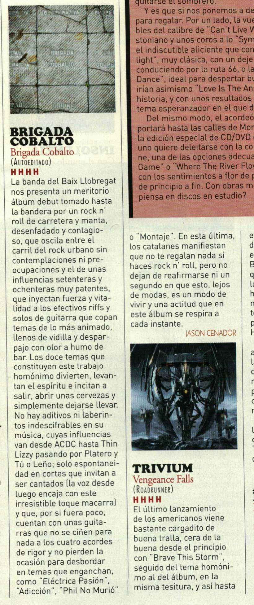Magnífica acogida de Brigada Cobalto en la revista 'Heavy Rock'